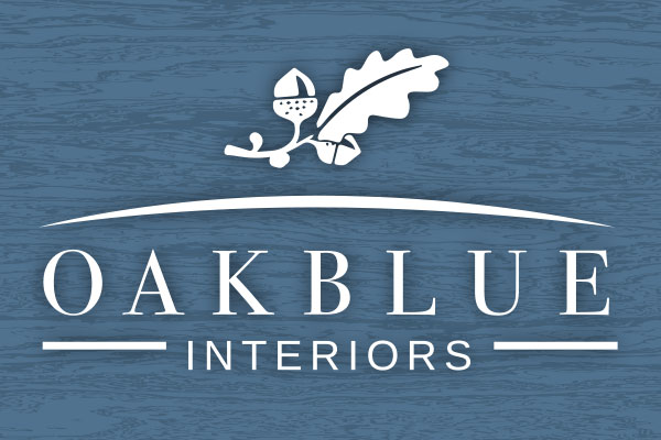 oakblue interiors website, brand identity and printed materials designed by construct id